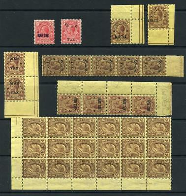 Turks & Caicos Islands GV War tax stamps and EDVII 3d block