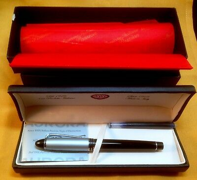 Aurora Ipsilon Italian Black & Chrome Medium Tip Fountain Pen w/case & Box NOS