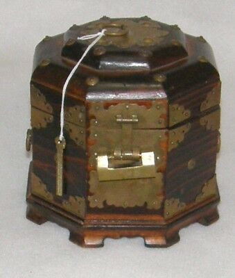Antique Footed Chinese TEA CADDY Octogon Lock & Key WOOD & BRASS