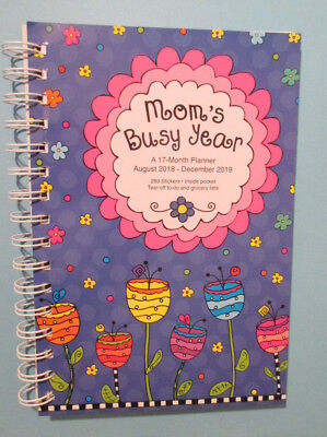 2019 SPIRAL 8.5X6 DAILY Family MOM's BUSY YEAR PLANNER - BONUS August-Dec 2018