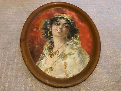 Large Antique e.1900's Victorian Girl Woman Oval Metal Serving Tray