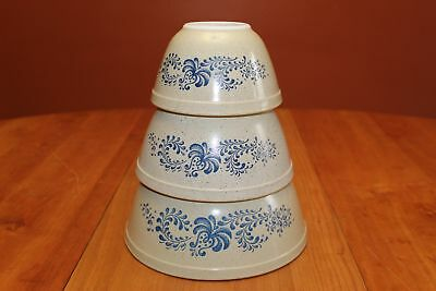 Vintage Pyrex Homestead Blue Round Nesting Mixing Bowls 401 402 403 Excellent