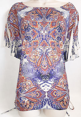 ONE WORLD Blue/Rust Multi-Color Embellished Knit Top Size L