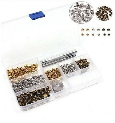 180 Metal ROUND FLAT 6mm & 8mm DOUBLE SIDED Rivet Studs + TOOLS Leather Crafts