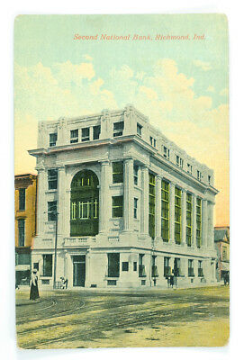 1913 Second National Bank, Richmond, Indiana Antique Post Card