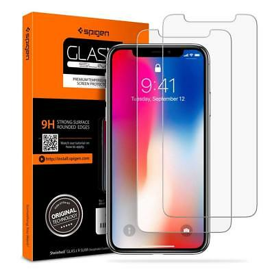 Spigen Tempered Glass Screen Protector Compatible with Apple iPhone X 2 PACK