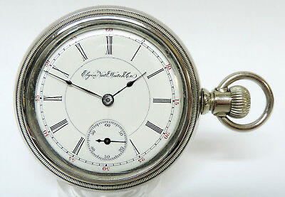 1901 Elgin 18 Size, Seven Jewels, Nickel Swing-Out Case, Just Serviced. Nice!