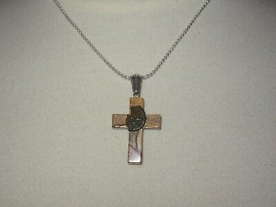 Christian Cross Necklace Pendant with Original Ancient Judean Widows Mite Coin
