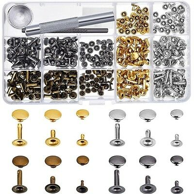 180 Metal ROUND FLAT 6, 8, 12mm SINGLE SIDED Rivet Studs + TOOLS Leather Crafts