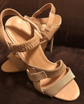f33d7cb949c WOMEN S L.A.M.B OPEN Toe Heel Sandal Buckle Leather Sole Size 10M ...