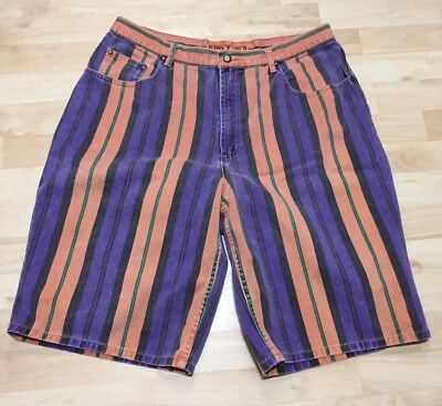 Vintage 90's Color Striped Jean Shorts-SZ 38(Fit Like A 36)