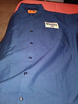 Red Kap Coors Banquet Patch Beer Navy Blue Short Sleeve Button Delivery Shirt L