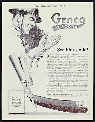 1918 GENCO RAZORS WWI Soldier Smiles When He Can Shave Antique Vintage PRINT AD