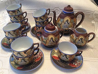 24 Pc Satsuma Moriage Tea Set Nude Immortal Quan Yin Probably Nippon 1891-1921