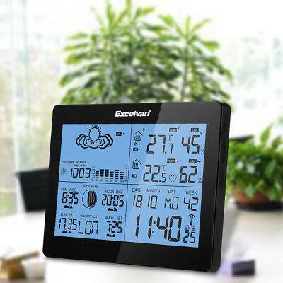 EXCELVAN Dual Alarm Wireless Weather Station Temperature Humidity LED Moon Phase