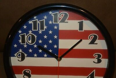 "American Flag USA Round Wall Clock - black red white & and blue - 9.5"" diameter"