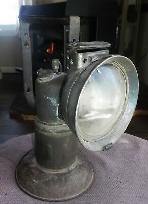 """Antique 10.5"""" Hand Held Carbide Lamp Miner's Or Railroad"""