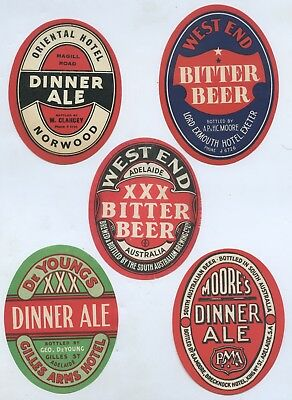 1940'S SOUTH AUSTRALIAN/WA x7 BEER LABELS MOSTLY NAMED HOTEL BEERS GD COND  T62