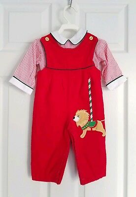 Vintage Corduroy Overall Pants Shirt Set 12 M Carousel Red Green Outfit