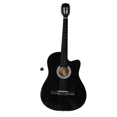 "38"" Cutaway Acoustic Guitars with Guitar Plectrum for Beginner Student Black US"