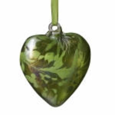 August Peridot 8cm Birthstone Glass Heart by Amelia Glass - Gift Handmade