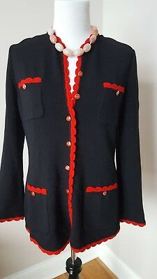 ST JOHN Collection By Marie Gray Black Red Trim Kint Jacket Sweater  sz S