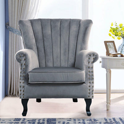 Grey Vintage Large High Wingback Armchair Velvet Seat Fireside Lounge Tub Chairs