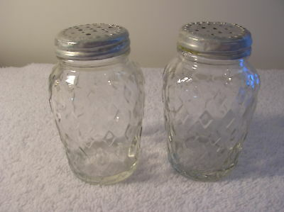 Antique Clear Salt and Pepper Shakers, Diamond Design