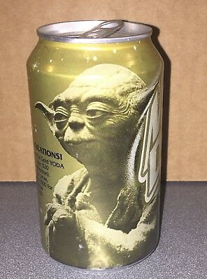 Star Wars Episode 1 GOLD YODA Mountain Dew Can FREE SHIPPING!! Very Hard to Find