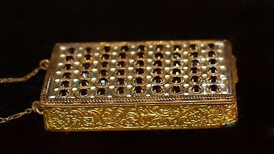 Gorgeous Antique FRENCH *Jeweled* & Enamel ~COMPACT~ Dance PURSE