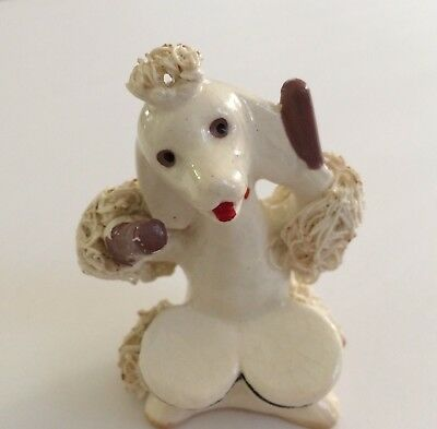 Vintage Spaghetti Poodle Porcelain Drummer Numbered Figurine Hand Painted Dog