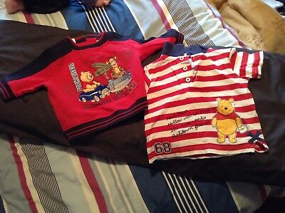 whinne the pooh red jumper n top baby size 0, GUC