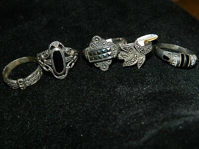 Vintage 925 Sterling Silver Ring Thailand Lot Of 5 Rings