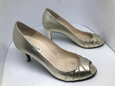 aa8f69c8ab1 Womens LK l.k Bennett Metallic Gold leather high heels shoes UK 6 EU 39  Peep Toe