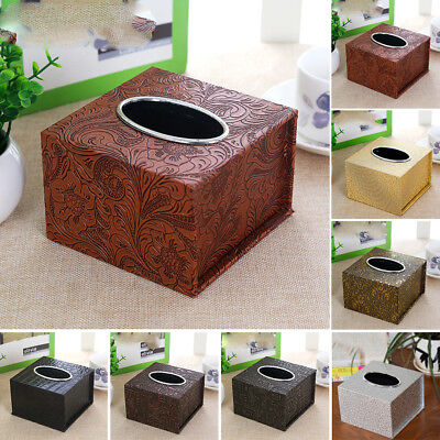 AU  Home Office Tissue Holder PU Leather Waterproof Inner Car Box Square New