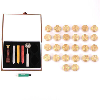 European style 26 Alphabet Wax Seal Stamp Kit Sealing Wax Letters Invitation