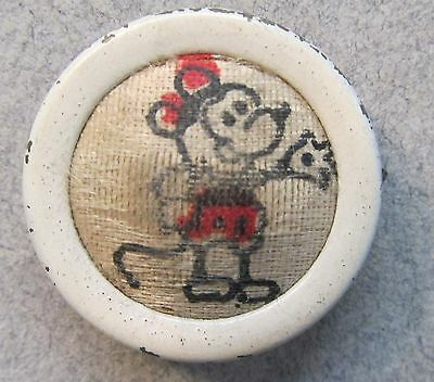 original 1930's MICKEY MOUSE cloth and metal button badge UNUSUAL back