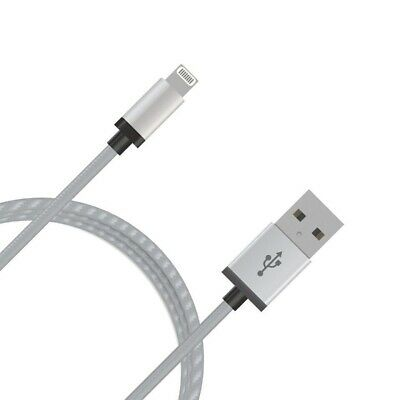 mbeat 2m Lightning Cable with Silver Nylon Braided Rugged Aluminium Crush-proof