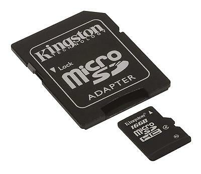 Kingston 16 GB Micro SD SDHC Memory Card Class 10 with Adapter & Tracking