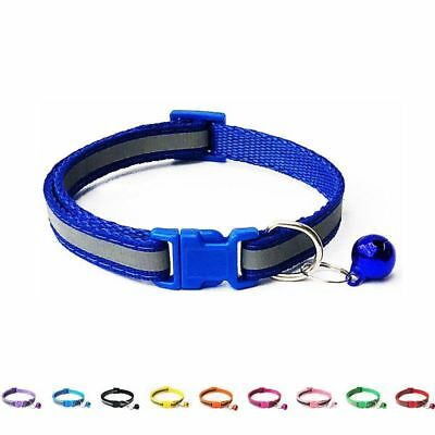 Reflective Cat Collar With Bell Solid Nylon Pet Collar Safe Breakaway Collar