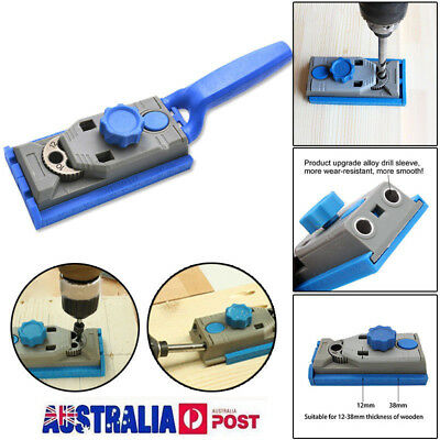 Woodworking Tool Pocket Hole 2 in 1 Genius Jig Kit Set 9.5mm Drill Guide Sleeve