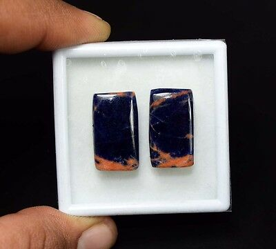 24.45 Cts. 100% Natural Pair Of Multi Sodalite Cushion Cabochon Loose Gemstones