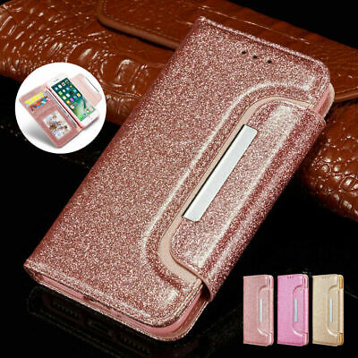 Bling Glitter PU Leather Case Magnetic Flip Wallet Cover For iPhone&Samsung S8/9