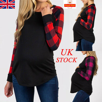 UK Womens Pregnancy Maternity Check Plaid Long Sleeve Blouse Casual Shirt Tops