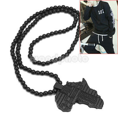 Black Beads Link Chain Wooden Africa Map Pendant Necklace Jewelry For Men OYX