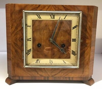 Antique English Art Deco Walnut Cased Mantel Clock, Runs With Key - Chrome HAC