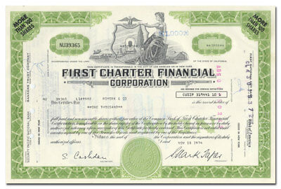 First Charter Financial Corporation Stock Certificate - Topless VIgnette
