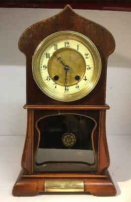 Antique Solid Wood Cased Art Nouveau Mantle Mantel Clock - Runs - 1903 - HAC
