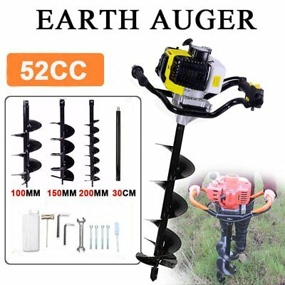"""52CC Gas Power Earth Auger Engine Post Hole Digger 4"""" 5"""" 6"""" 8"""" 10"""" 12"""