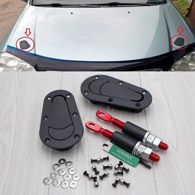 Black Flush Non Locking Quick Release Bonnet/Boot Pin Catches